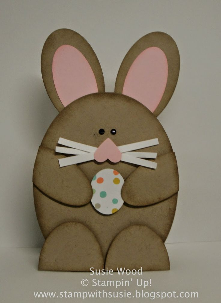 Stampin' Up! ... handmade Easter card fromStamp with Susie: A CUTE little Bunny! ... punch art styling ... chocolate bunny with pink ears and heart nose ...
