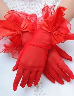 Delicate Satin/Tulle Fingertips Wrist Length Wedding Gloves