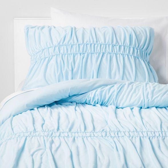 Ruched Jersey Comforter Set Light Blue Pillowfort Target In 2020 Blue Comforter Sets Jersey Comforter Light Blue Comforter