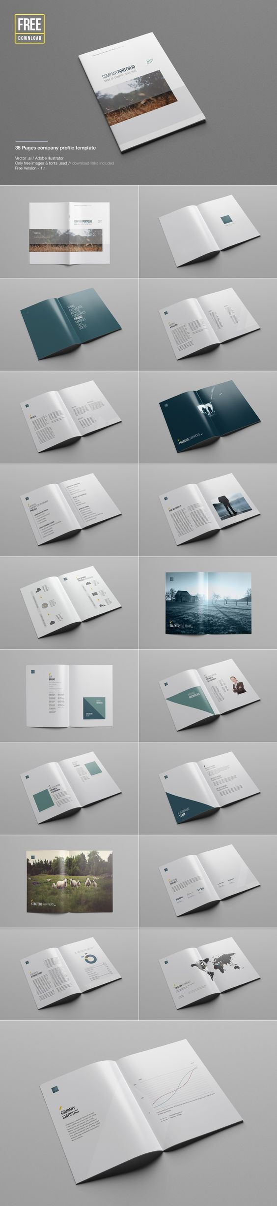Free Download - Company Profile Template - Brochure - Magazine - Pamphlet - Catalog - Mockup: