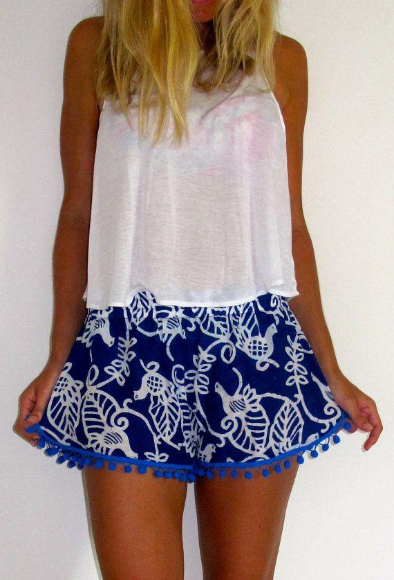 Pom Pom Shorts Cobalt Blue Bird of Paradise with door ljcdesignss, $29.00