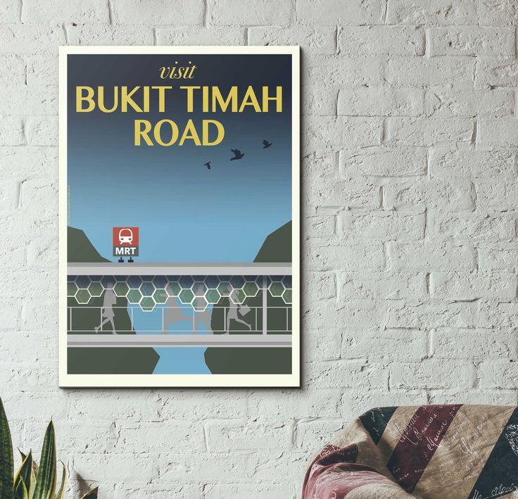 Bukit Timah Road Vintage Travel Poster / eck&art design studio