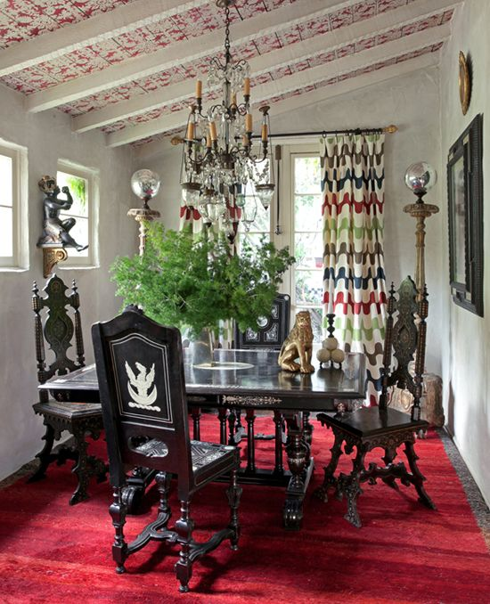 -Martyn Lawrence Bullard Designs: Dining Rooms Sets, Lawrence Bullard, Ceilings Treatments, Ceilings Details, Interiors Design, Dining Spaces, Colors Curtains, Dining Rooms Tables, Martyn Lawrence