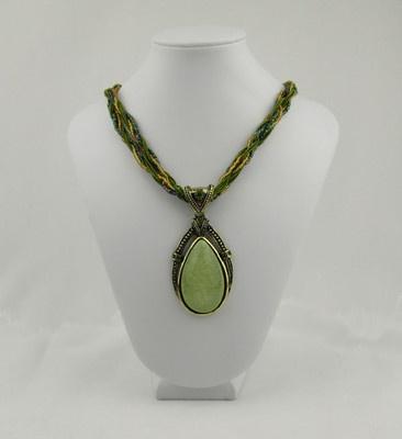 Vintage Design 18 Necklace Faux Moonstone Light Jade Green Color PN1301J | eBay