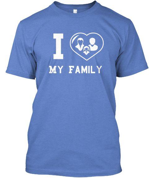 I My Family Heathered Royal  T-Shirt Front