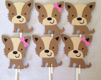 Cupcake Toppers del perro   Decoración fiesta de cumpleaños de cachorro   Cupcake Toppers de perrito   Chica cachorro Cupcake Toppers   Chico perrito Cupcake Toppers