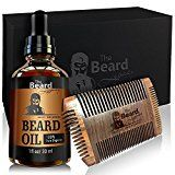 Beard Comb Beard Oil Kit For Men with Luxury Gift Box USA Beard Mustache Care Maintenance Bundle Unscented Conditioner Beard Growth and grooming Helps Itchiness and Dandruff Jojoba Argan Oil.
