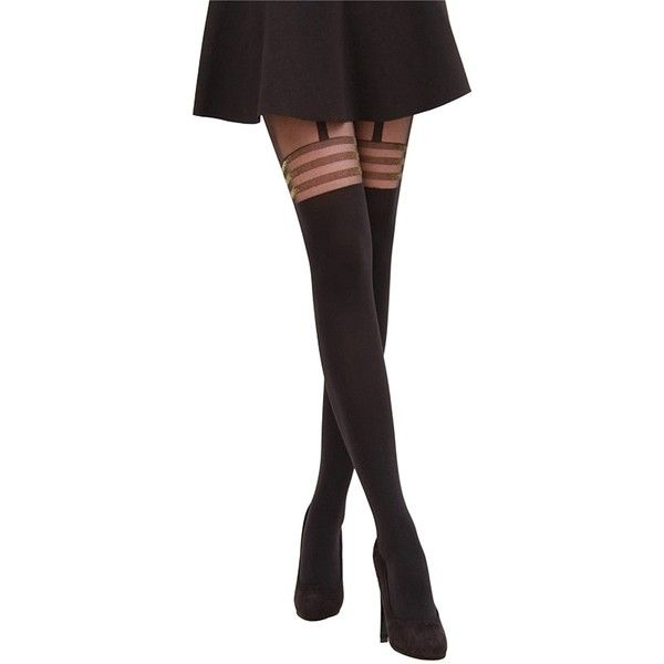 Intimate Portal Women's Fake-it Thigh High Opaque Tights ($13) ❤ liked on Polyvore featuring intimates, hosiery, tights, thigh high opaque tights, glitter pantyhose, thigh high hosiery, opaque tights and gold tights