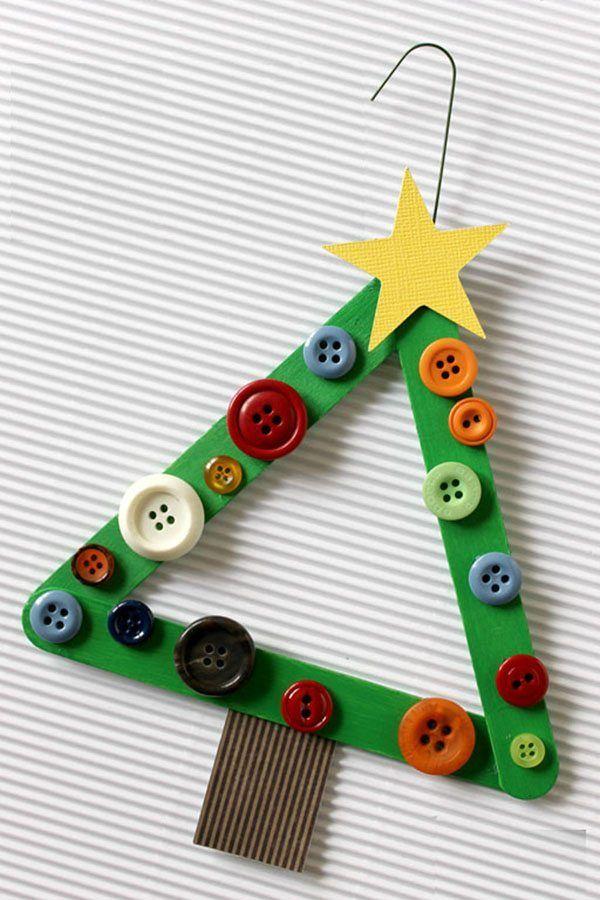 manualidades y adornos de Navidad arbol botones