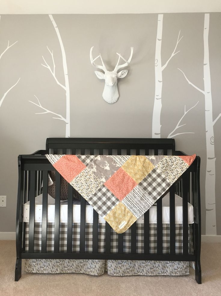 Boy nursery- grey white black woodland boho