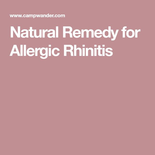 Natural Remedy for Allergic Rhinitis
