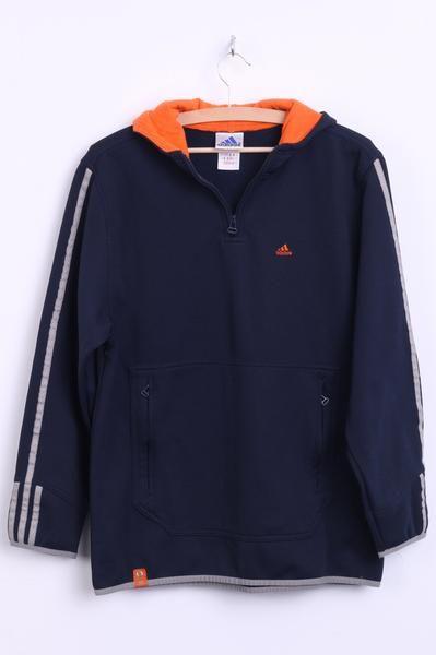 Adidas Mens M Sweatshirt Hood Navy Zip Neck Pockets Sport Top - RetrospectClothes