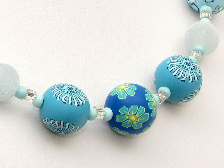 """ Welle "" necklace, fimo, arcilla, beads, Polymer Clay Lampwork Designer Kette, Halskette, millefiori,   von filigran-Design   auf DaWanda.com"