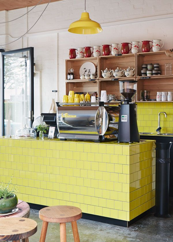 Melbourne deli Hams and Bacon - yellow counter tiles, coffee machine trim and cups - SO cheery.