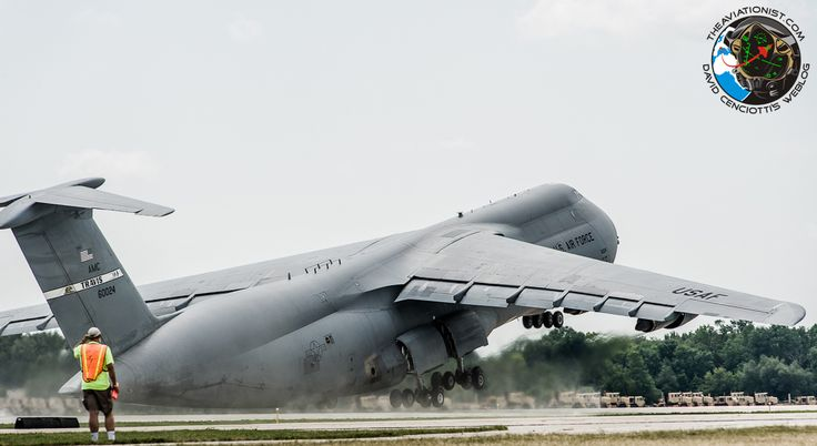 Awesome giant C-5 Galaxy near tailstrike take off at Oshkosh 2012