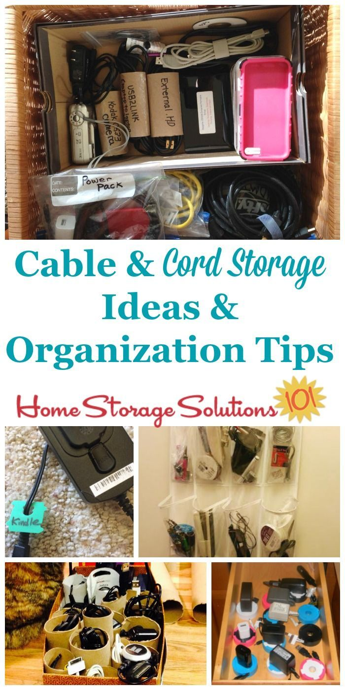 Lots of cable and cord storage ideas and organization tips, including how to label them, keep them untangled, and several DIY solutions and organizer products you can use for this task {on Home Storage Solutions 101}