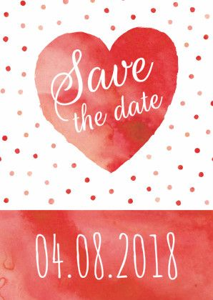 Save the date kaart met mooi aquarel hart en stippen, pas zelf naar wens de teksten aan en voeg jullie initialen toe in de hartjes aan binnenzijde