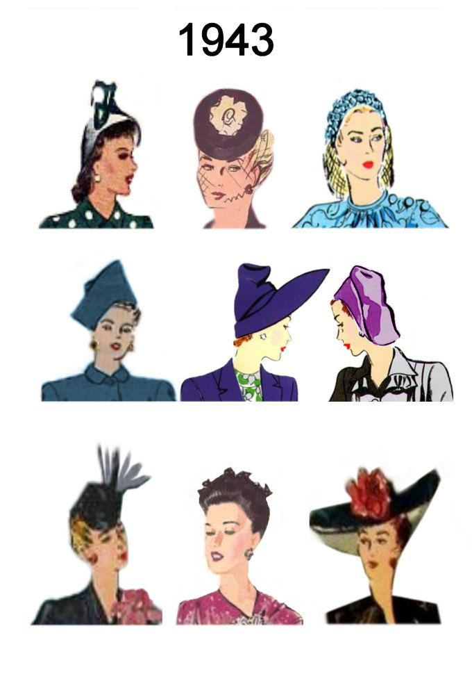 1943 Hair and Hat Styles   the purple one at the top is much like the cream one I almost bought @Patty Russell Stamper