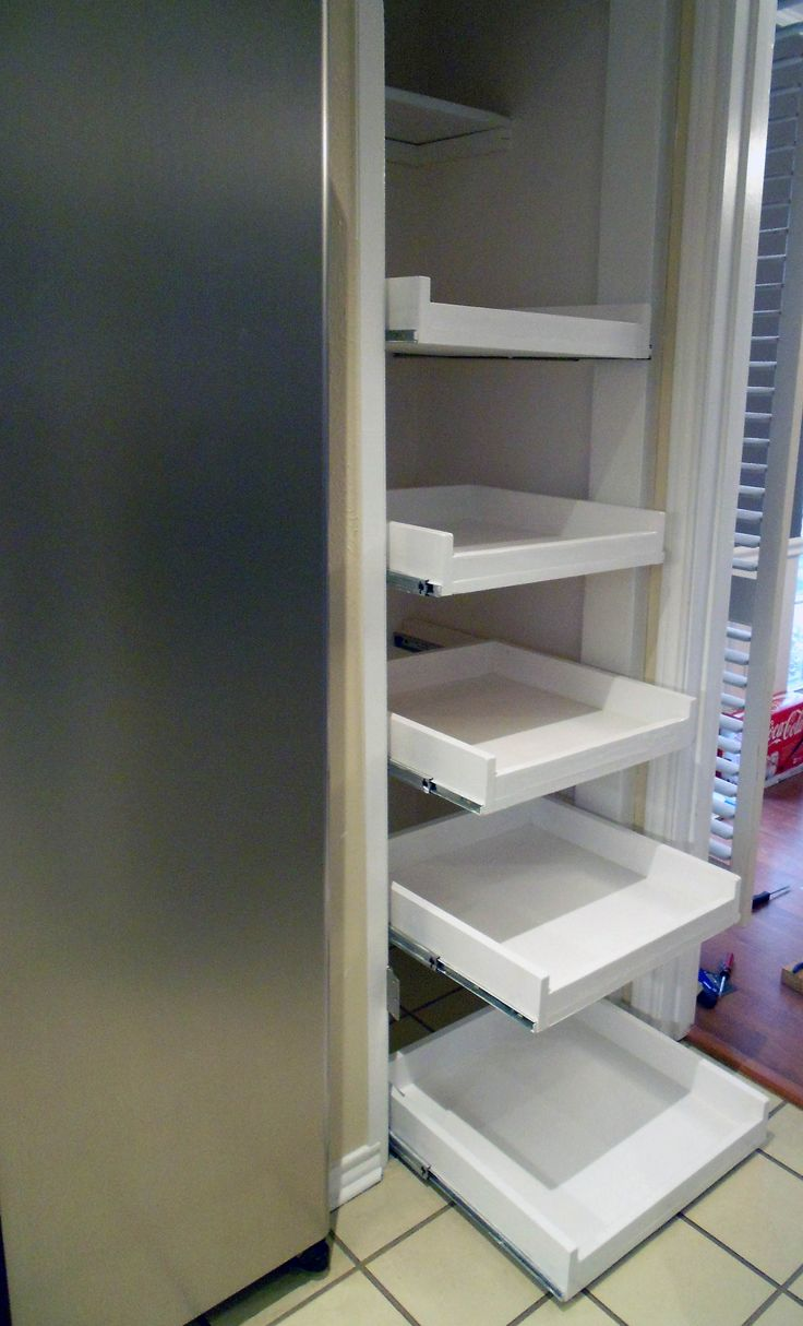 """diy slide out pantry, this couple""""s blog has lots of ideas"""