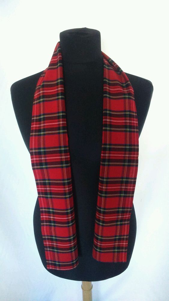 Red tartan scarf Bay City Rollers Rod Stewart punk emo Scottish fancy dress