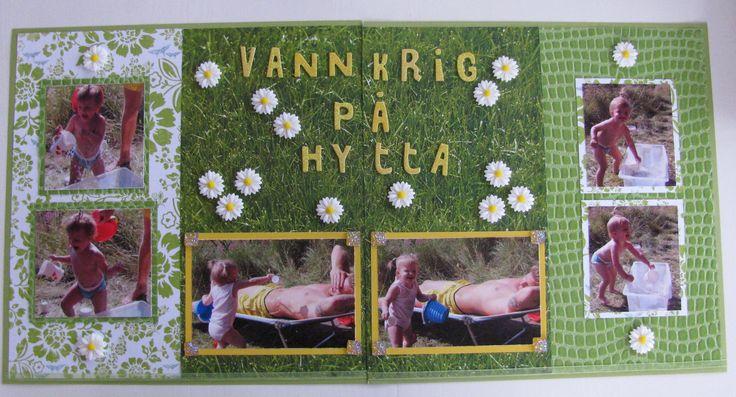 "Scrapbook page: ""Water war at the cottage""                #water #war #green #grass #summer #littlegirl #dad #mom #love #sunflowers #flowers #waterwar #hytta #wet"