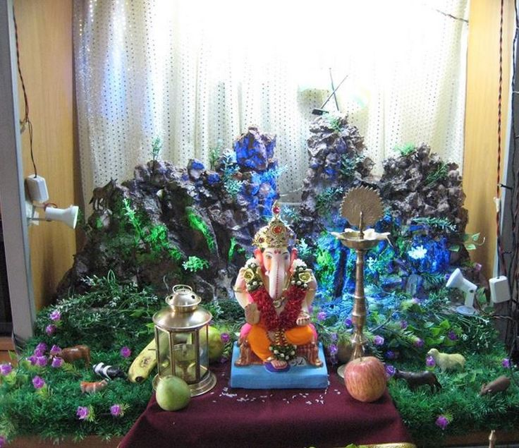 Best 25 ganpati decoration for home ideas on pinterest for Ganapati decorations home