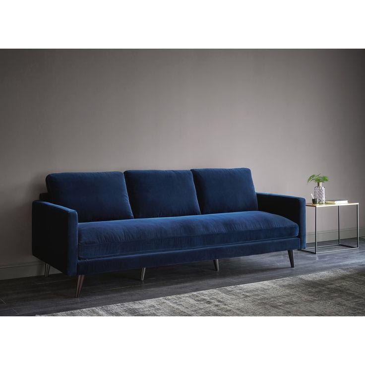 Canape 4 Places En Velours Bleu Nuit En 2020 Canape Maison Du