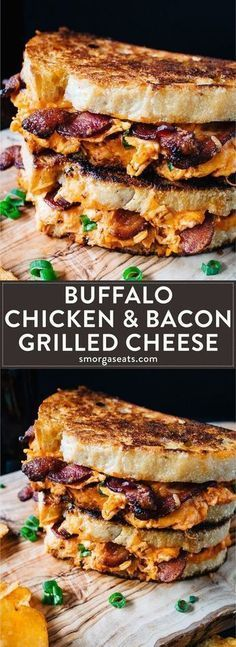 Buffalo chicken and bacon on grilled cheese