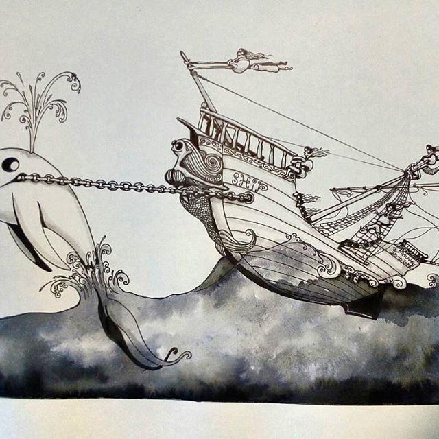 Inktober day 25 - Ship - #inktober #inktober2017 #inktoberday25 #inktoberprompts #ink #penandink #brushandink #brushpen #copic #bmitchleyart #koibrushpen #ship #character #comic #southafricanartist #southafrican #southafrica #artist #artistoninstagram #art #illustration #dailysketch #drawingink #whale #comedy