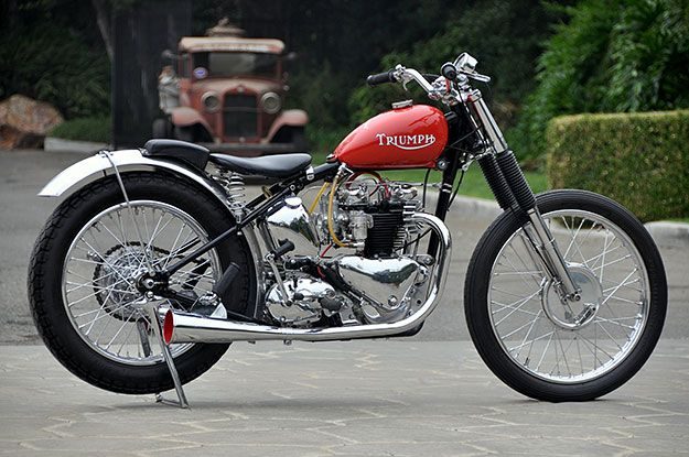 """Pretty Boy II"", 1952 Triumph Thunderbird 650 dragster restored by Bobby Sirkegian"