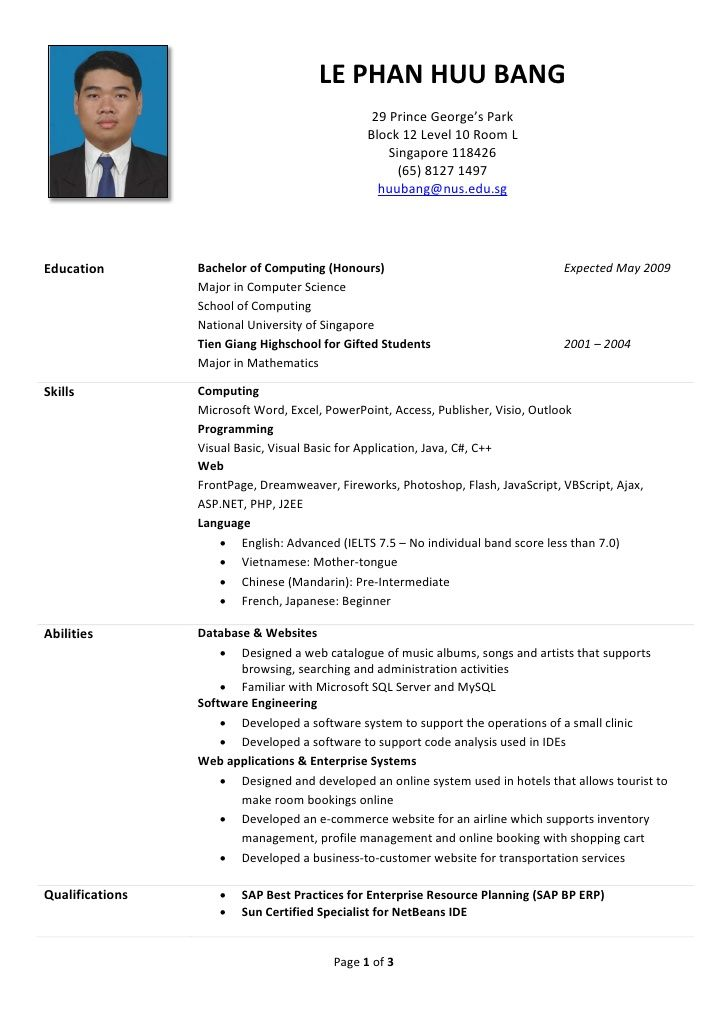 Huu Bang S R 233 Sum 233 Sample Of Resume For Internship