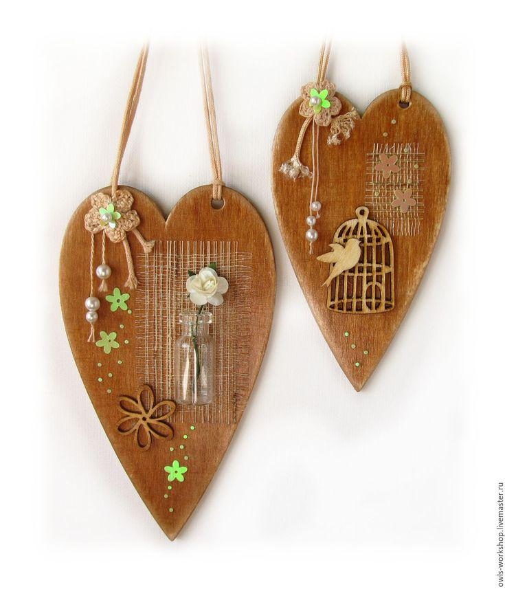 Купить декоративные интерьерные подвески-сердечки парные Соловей и роза - интерьерная подвеска, декоративная подвеска