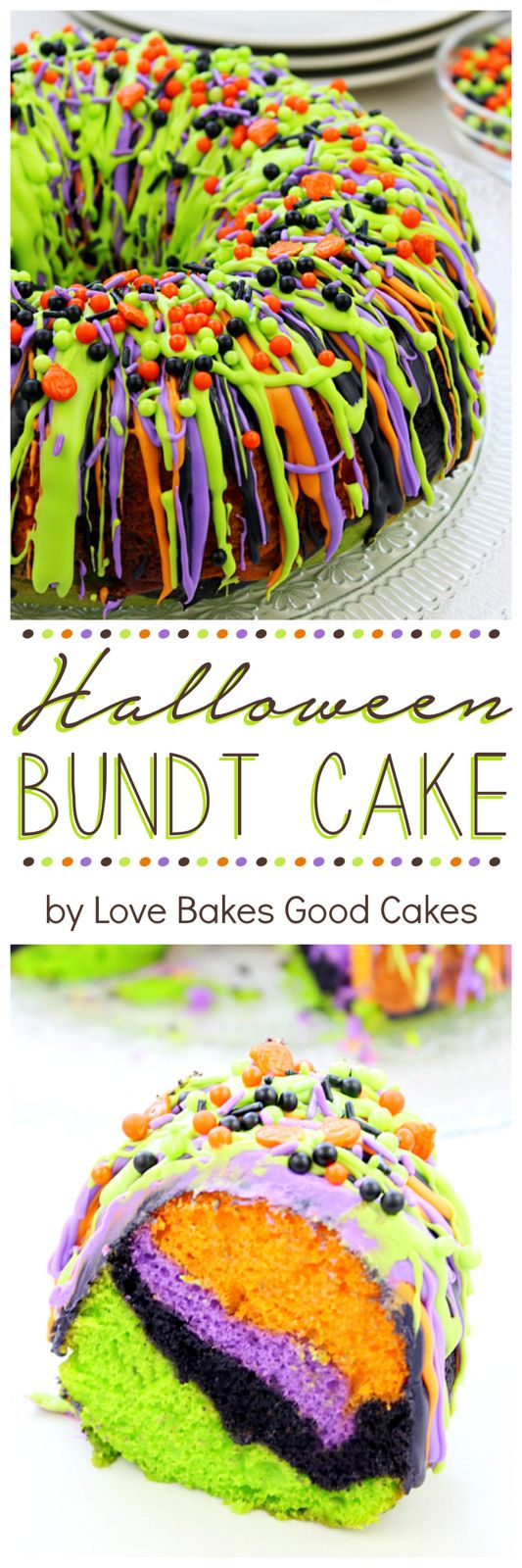 """Oooh\"" and \""aah\"" your guests with this impressive Halloween Bundt Cake! It is so colorful and it\'s easy to make."