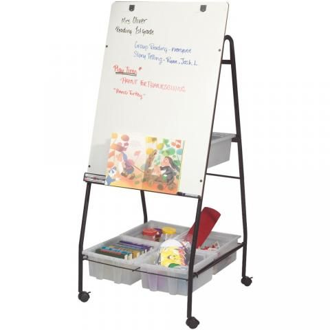 A freestanding dry erase whiteboard sits on 3 inch casters for easy portability. http://learnersupply.com/standing-whiteboard