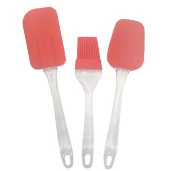 Kit Silicone Utensilios de Cozinha Espatula Colher e Pincel Vermelho kit1-sili-1-2-3