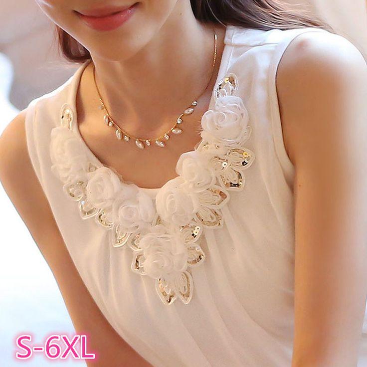 blusas femininas 2017 women blouses blusa feminino womens tops fashion Sleeveless Chiffon Shirt S-6XL Plus Size White Black