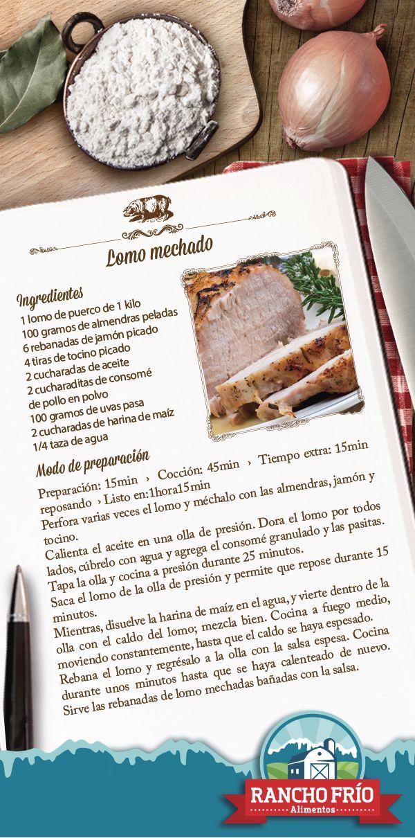 LOMO MECHADO  Ingredientes 1 lomo de puerco de 1 kilo 100 gramos de almendras peladas 6 rebanadas de jamón picado 4 tiras de tocino picado 2 cucharadas de aceite 2 cucharaditas de consomé de pollo en polvo 100 gramos de uvas pasa 2 cucharadas de harina de maíz 1/4 taza de agua Modo de preparación Preparación: 15min  ›  Cocción: 45min  ›  Tiempo extra: 15min reposando  › Listo en:1hora15min