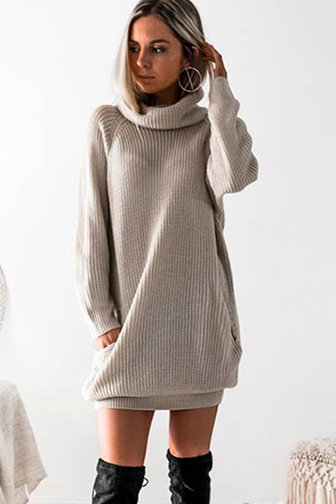 Turtle Neck Knit Dress