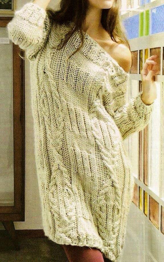 Платье-свитер с косами (вязание спицами)
