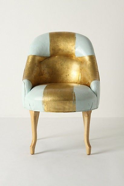 Painted Bias Armchair: Gilded cross painted by artis Kaki Foley.