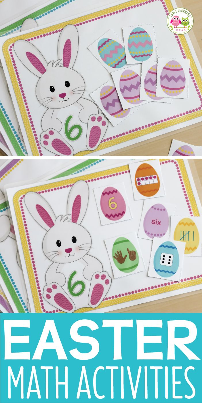 Easter bunny math activity mats. Kids can work on counting, numeracy, tally marks, numeral recognition, subitizing, number word recognition, constructing and deconstructing numbers. Perfect for your math centers, math work stations, and math tubs in preschool, pre-k, and kindergarten. Hands-on math activities for your Easter theme, bunny theme, pets theme, Spring theme units and lesson plans