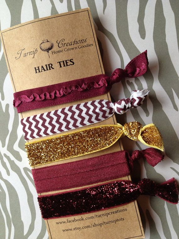 Griffindor FOE Hair Ties Maroon and Gold Glitter Ruffle Chevron elastic Texas State University on Etsy, $7.50