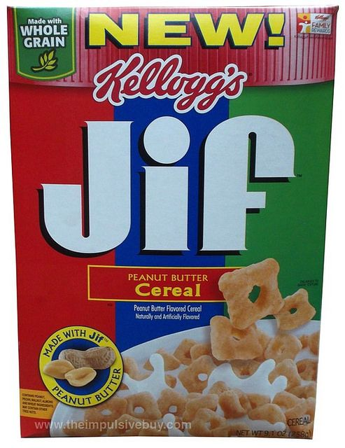 Kellogg's Jif Peanut Butter Cereal - disappointing. Tastes like Kix with a hint of peanut butter