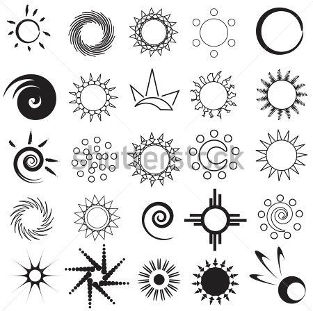 Set Of Abstract Sun Tattoo Designs                                                                                                                                                      More