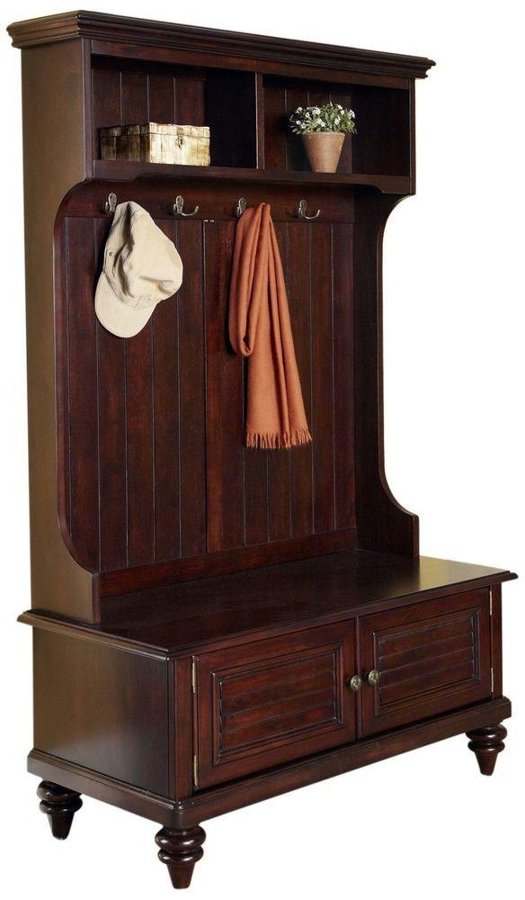 Solid Veneers Finish Drawers Elegant Hall Tree Bench Coat Rack Wood Seat Storage