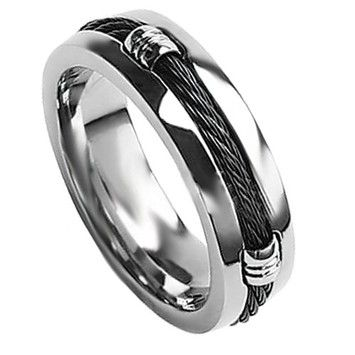 Goldsmith Truly Unique Men's Black Titanium Band Black Rope Twirl 7-mm Sizes 9-14 Limited Supply Free Shipping
