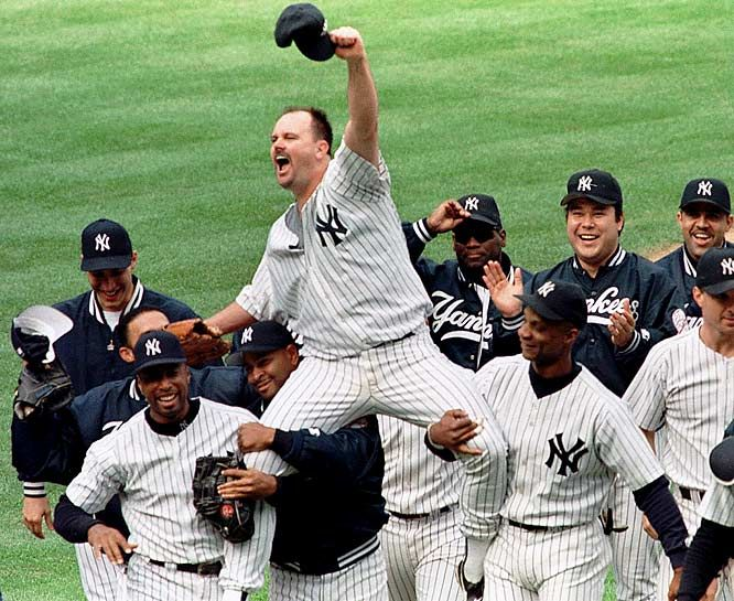 """Billy Crystal walked into the clubhouse after the game, approached David Wells and said, """"I got here late, what happened?"""" What happened was nothing short of spectacular as Wells improved to 5-1, striking out 11. Bernie Williams went 3-for-3, including a homer, and scored three runs.  Photographed by: AP: 1998, Baseball, Davidwells, Sports, Perfect Games, Ny Yankees, David Wells, Wells Perfect, New York Yankees"""
