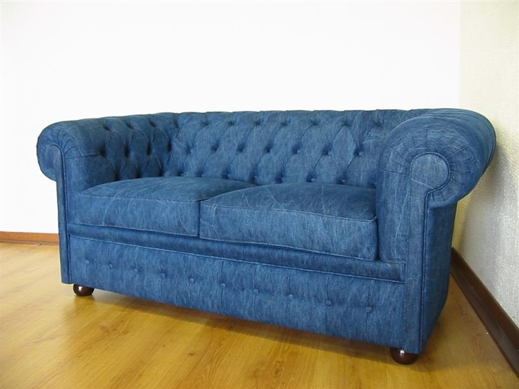 Chesterfield sofa in jeans denim- for a Mountain Home?