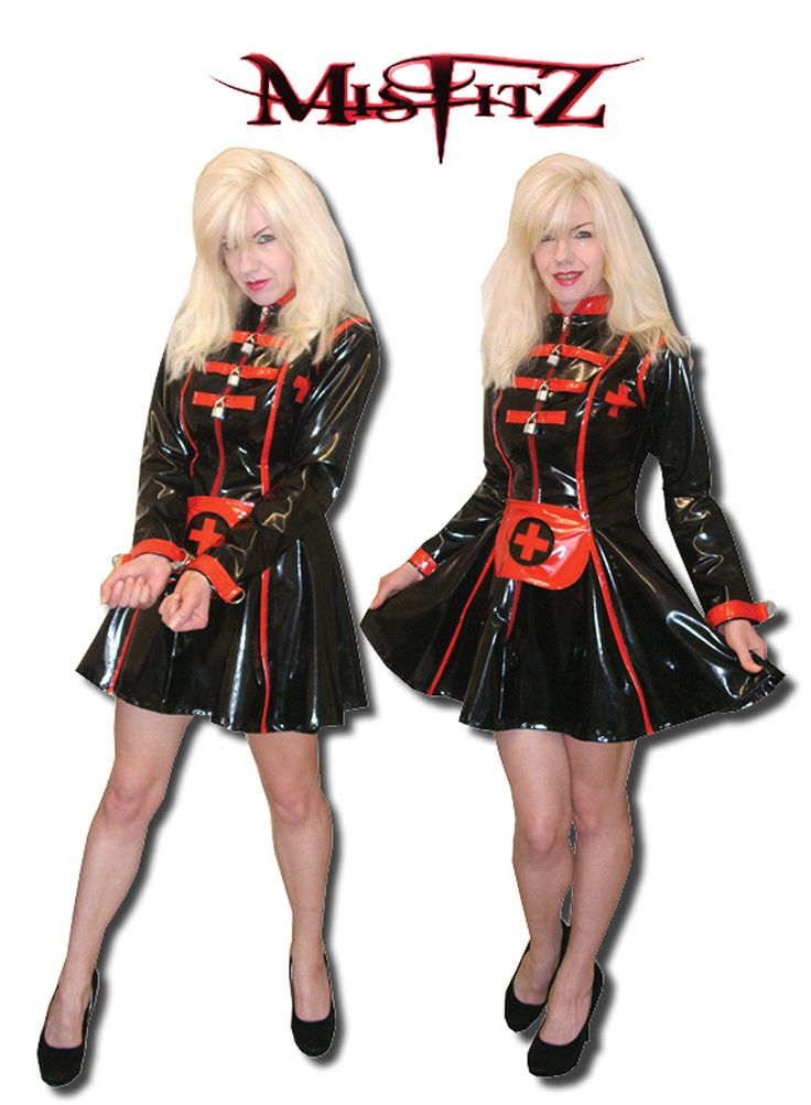 Misfitz pvc straitjacket padlock skater nurse dress sizes 8 - 32 / cu ...