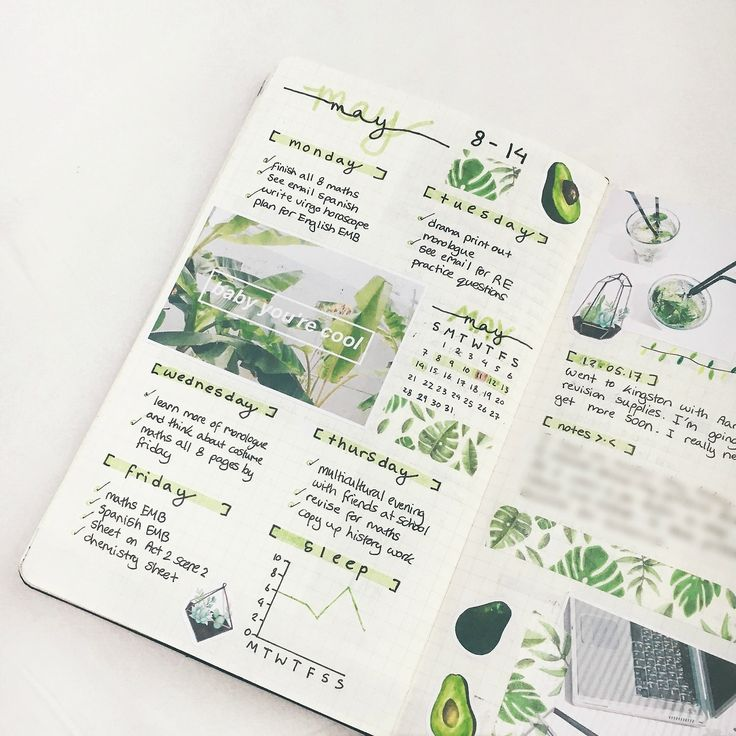 "studyclarity:  ""08/04/17 - 14/04/17  i'm trying out a new editing style, i think it looks a lot better and cleaner. i love light green spreads, they feel so fresh and neat!  """